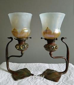 Tiffany Studios Cobra Candlesticks, pair