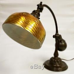 Tiffany Studios Counter Balance Lamp #415 with 7 Damascene Favrile Shade