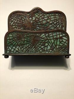 Tiffany Studios Pine Needle Letter Rack Napkin Holder LCT Stained Glass