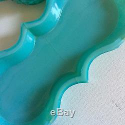 Turquoise Fenton Milk Glass Creamer and Sugar Set Vintage 1950s Blue Cream Sugar
