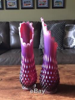 Two Fenton  Hobnail Plum Opalescent Swung Vases