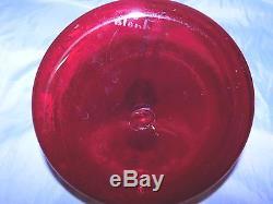Unique Blenko Ruby'ships' Decanter, Hand Blown, Mint Cond