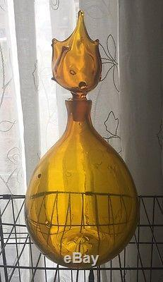 Unusual Blenko Husted Yellow Jonquil Decanter/bottle with stopper, RARE! #5912