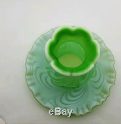 VERY RARE Fenton Glass Lime Green Opalescent Satin Swirled Feather Fairy Lamp