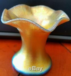 Very Rare Steuben For Haviland Aurene Glass Flower Form Bud Flower Vase