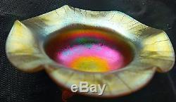 Very Rare Steuben For Haviland Aurene Glass Flower Form Footed Open Salt