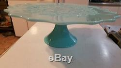 VERY RARE VIntage Fenton Art Glass Aqua Turquoise Spanish Lace Cake Stand mcm