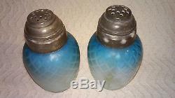 Victorian Mt Washington Phoenix Diamond Quilted Satin 1880s Salt & Pepper Shaker