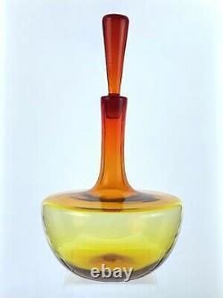 VINTAGE Blenko Handmade Glass 6615L Decanter in Tangerine Joel Myers Design