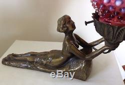 Vintage Fenton Art Glass Cranberry Opalescent Hobnail Art Deco Style Lady Lamp