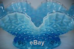 Vintage Fenton Blue Opalescent Diamond Lace 3 Horn Epergne