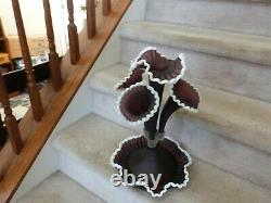 VINTAGE FENTON L G Wright Satin Glass Amethyst Plum Snowcrest Epergne Vase 17
