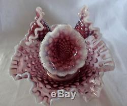 Vintage Fenton Plum Opalescent Hobnail Art Glass Epergne