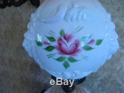 VINTAGE HEDCO LION HEAD Roses MILK GLASS PARLOR TABLE LAMP GWTW