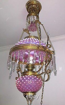 VINTAGE LARGE OPALESCENT CRANBERRY GLASS HOBNAIL AND CRYSTAL CHANDELIER