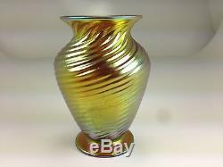 VINTAGE LCT GOLD IRIDESCENT SPIRAL ART GLASS VASE SIGNED NUMBEREd
