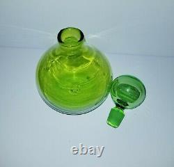 VTG BLENKO DECANTER 636S HUSTED Green Art glass Bottle Mid century mod