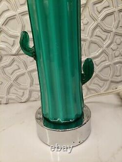 VTG Blenko Glass Chrome Hand Blown Saguaro Cactus Table Lamp Pop Art Postmodern