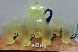 VTG FENTON Glass Ribbed Lemonade Set Vaseline Yellow Cobalt Blue Handles