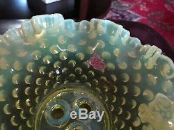 Vaseline Glass Fenton Hobnail Epergne, Original Fenton Label 8W, 6 1/2H