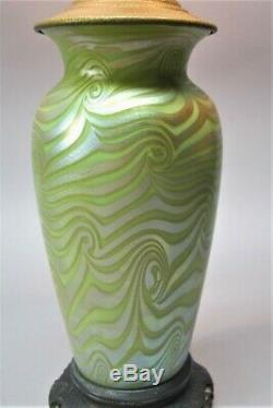 Very Fine DURAND GREEN KING TUT Art Glass Lamp c. 1920 antique vase
