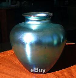 Very Large Vibrant Signed Carder Steuben Blue Aurene Vase