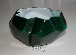 Very Rare Consolidated Ruba Rombic Emeralite Type Cased Bowl P&I Paid