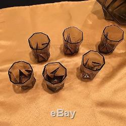 Very Rare Consolidated Ruba Rombic Whiskey Decanter & 6 Tumblers with Tray