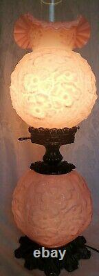 Very Rare Fenton Lavender Overlay Glass Gone With The Wind Lamp Poppies 24