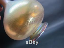 Very Rare STEUBEN AURENE Iridescent Gold Art Glass Bud Vase c. 1920 antique