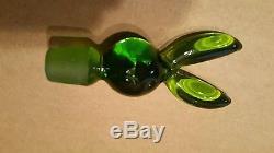 Very Rare Vtg 1970's Green BLENKO Glass Rabbit Playboy Bunny Topped Decanter