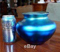 Vibrant Signed Carder Steuben Blue Aurene Vase