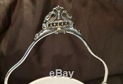 Victorian Art Glass Bride Basket enamel, hand blown, J W Tufts EXCELLENT NR