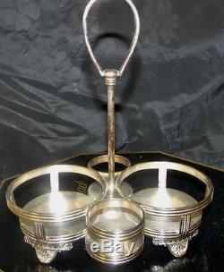 Victorian MT WASHINGTON AMBERINA PAIRPOINT Cruet Condiment Silverplate Caddy