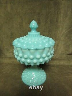Vintage 1950's Fenton Art Glass Turquoise Hobnail Covered Candy Dish Excellent