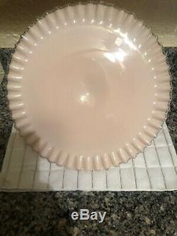 Vintage 1950's Fenton SILVER ROSE Cake Plate Mid Century Pink Milk Glass Stand