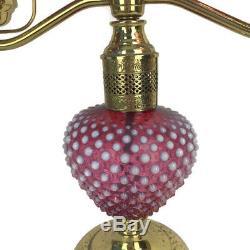 Vintage 1950s Fenton Double Student Lamp Desk Piano Cranberry Hobnail Opalescent
