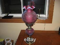 Vintage 1960 Fenton Art Glass Cranberry Opalescent Hobnail Banquet Parlor Lamp