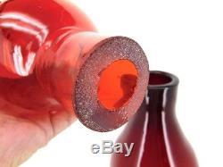 Vintage 1970s BLENKO FLOOR VASE Tangerine Ruby 41 JOHN NICKERSON Foil Label