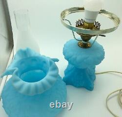 Vintage 1970s Fenton Poppy Blue Satin Milk Glass 19 Lamp