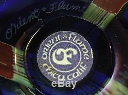 Vintage 1980 Orient & Flume 6 Iridescent Hawthorne Blue Vase Signed & Labeled