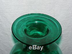 Vintage 24 Blenko Teal Green Art Glass Floor Decanter with Applied Edge Stopper