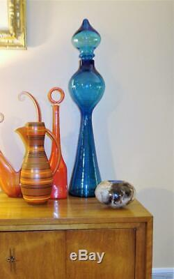 Vintage 31in BLENKO Glass Turquoise Teal DECANTER #588 Wayne Husted The Rocket