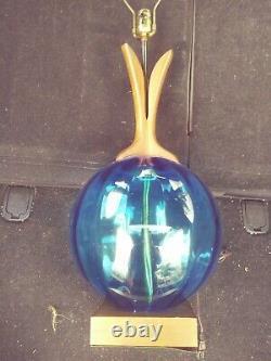 Vintage 39 Mid Century Blenko Table Lamp Blue w Orig Finial Large Rare
