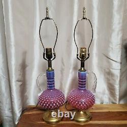 Vintage 50s Fenton Cranberry Opalescent Hobnail 1-Handle Vase/Carafe Lamps 23