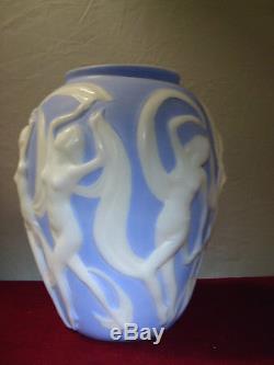 Vintage Art Deco/nouveau Dancing Nude Nymphs Vase Phoenix Glass 1930's