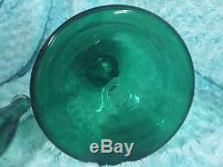 Vintage Blenko 21 inch Decanter Sea Green Wayne Husted Chessman Balustrade