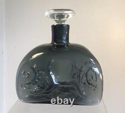 Vintage Blenko Decanter 5420 Wayne Husted Charcoal Mold Blown Decor