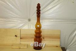 Vintage Blenko Decanter Design 6732 Original Label 19 Tall Honey