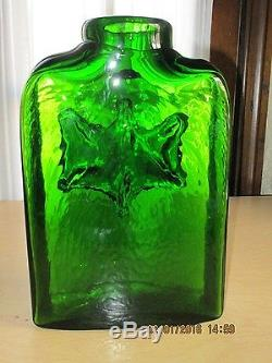 Vintage Blenko Emerald Green Large Floor Vase / Bottle